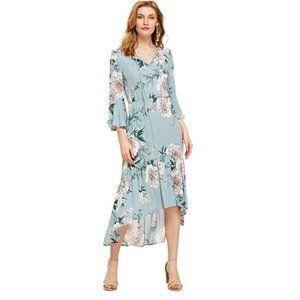 Milumia Blue Flowy Bohemian Floral Maxi Dress